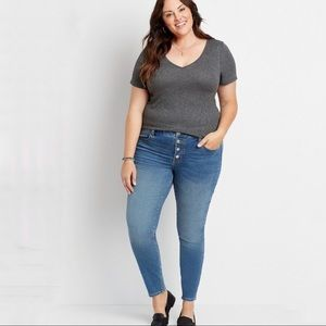 Plus 20W High Rise Medium Wash Button Fly Jegging